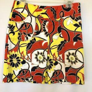 Ann Taylor Linen Floral A-Line Skirt